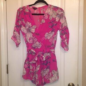 Pink floral short romper Large